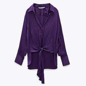 Zara Satin Blouse With Knot Detail Cropped Front